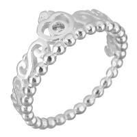 Кубический циркон микро проложить кольцо-латунь, Латунь, Корона, плакированный настоящим серебром, разный размер для выбора & инкрустированное микро кубического циркония & Женский, 9mm, продается PC