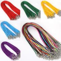 Вощеный шнур нейлона Шнурок для ожерелий, с цинковый сплав, Платиновое покрытие платиновым цвет, Много цветов для выбора, 2mm, длина:Приблизительно 17.7 дюймовый, 10пряди/сумка, продается сумка