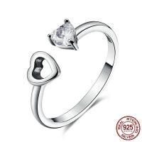 Серебро 925 пробы Манжеты палец кольцо, Сердце, регулируемый & Женский & с кубическим цирконием, 6x12mm, размер:8, продается PC