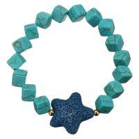 Синтетическая бирюза браслет, с лава & нержавеющая сталь, Морская звезда, плакирован золотом, Женский, 26x26mm, 8x8x8mm, Продан через Приблизительно 8 дюймовый Strand