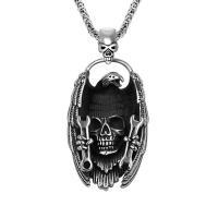 Титановые стали ожерелье, титан, Череп, чернеют, 31x53mm, отверстие:Приблизительно 16x8mm, продается PC