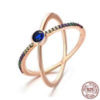 Cеребряное кольцо, Серебро 925 пробы, 18-каратное розовое золото покрыло, разный размер для выбора & Женский & с кубическим цирконием, 4x5mm, продается PC