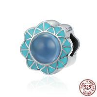Серебро 925 пробы бусины Европейская стиль, Форма цветка, без Тролль & эмаль & с кубическим цирконием, 11x11mm, отверстие:Приблизительно 4.5-5mm, продается PC