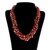 Ожерелье из ракушки, Ракушка, с Латунь, Женский, красный, 5-7mm, Продан через Приблизительно 20.5 дюймовый Strand
