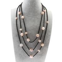 Природное пресноводное жемчужное ожерелье, Пресноводные жемчуги, с Стеклянный бисер, с 4.5cm наполнитель цепи, Женский & 3-нить, 9-12mm, Продан через Приблизительно 20 дюймовый Strand