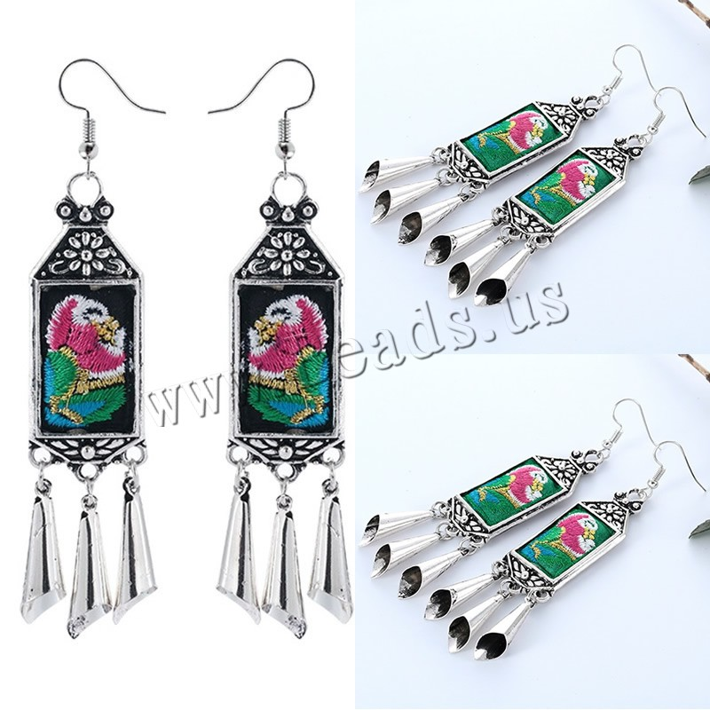 Buy Zinc Alloy Drop Earring Cloth iron earring hook antique silver color plated embroidered & handmade colors choice lead & cadmium free 18x95mm Sold Pair