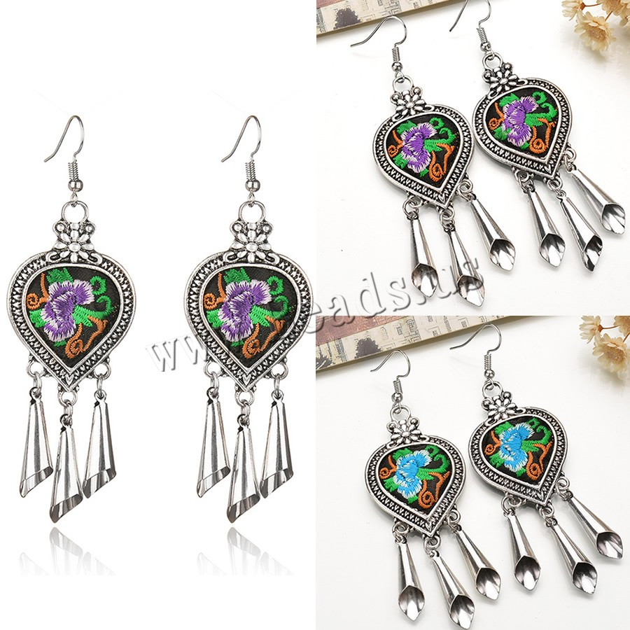 Buy Zinc Alloy Drop Earring Cloth iron earring hook Heart antique silver color plated embroidered & handmade colors choice lead & cadmium free 28x65mm Sold Pair