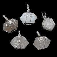 Подвески из кварца, Чистый кварц, с цинковый сплав, 28x32x21mm-29x33x22mm, отверстие:Приблизительно 2-4mm, 5ПК/сумка, продается сумка