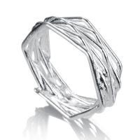 Кольца из латуни, Латунь, плакирован серебром, Мужская, не содержит никель, свинец, 6mm, размер:4.5, продается PC