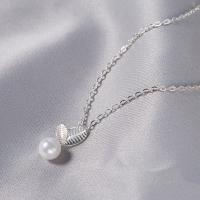 Серебряное ожерелье, Серебро 925 пробы, Листок, Овальный цепь & Женский, 16x8mm, Продан через Приблизительно 16 дюймовый Strand