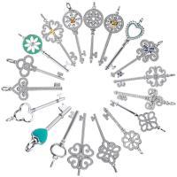 Серебряное ожерелье, Серебро 925 пробы, Ключ, покрытый платиной, различной длины для выбора & Овальный цепь & разные стили для выбора & инкрустированное микро кубического циркония & Женский, 18x50mm-15x55mm, продается Strand