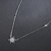 Серебряное ожерелье, Серебро 925 пробы, Снежинка, Овальный цепь & Женский & с кубическим цирконием, 15x13.5mm, Продан через Приблизительно 16.5 дюймовый Strand