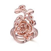 Кольца из латуни, Латунь, Форма цветка, плакирование настоящим розовым золотом, Женский, не содержит никель, свинец, 18mm, размер:7.5, продается PC
