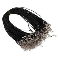 Шнуры для ожерелий, кожаный шнур, цинковый сплав Замок-карабин, черный, 2mm, длина:Приблизительно 16.5 дюймовый, 100пряди/сумка, продается сумка