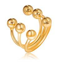цинковый сплав Манжеты палец кольцо, плакирован золотом, Женский & 3-нить, не содержит никель, свинец, размер:8, продается PC