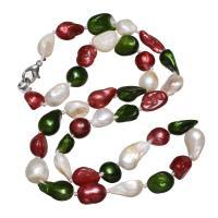 Природное пресноводное жемчужное ожерелье, Пресноводные жемчуги, латунь Замок-карабин, Зуб, Женский, 8-10mm, Продан через Приблизительно 18 дюймовый Strand