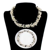 Природное пресноводное жемчужное ожерелье, Пресноводные жемчуги, латунь Замочек-колечко, Форма картофеля, Женский & 3-нить, 7-9mm, Продан через Приблизительно 14 дюймовый Strand