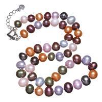 Пресноводные жемчуги Ожерелье, латунь Замок-карабин, с 5cm наполнитель цепи, Форма картофеля, Женский, разноцветный, 8-9mm, Продан через Приблизительно 16.5 дюймовый Strand