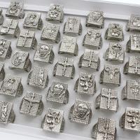 Модные кольца, цинковый сплав, плакированный цветом под старое серебро, Мужская & разнообразный, не содержит свинец и кадмий, 23x24x24mm, размер:6-9, 50ПК/Box, продается Box