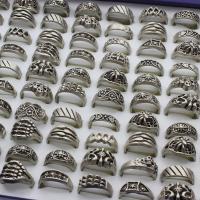 Модные кольца, цинковый сплав, плакированный цветом под старое серебро, Мужская & разнообразный, не содержит свинец и кадмий, 24x28x13mm-22x24x8mm, размер:6-9, 100ПК/Box, продается Box