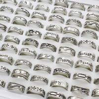 Модные кольца, цинковый сплав, плакированный цветом под старое серебро, Мужская & разнообразный, не содержит свинец и кадмий, 22x6mm-20x5mm, размер:6-9, 100ПК/Box, продается Box