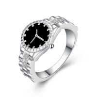 Кольца из латуни, Латунь, Часы, плакированный настоящим серебром, разный размер для выбора & Женский & эмаль, не содержит никель, свинец, 14mm, продается PC