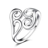 Кольца из латуни, Латунь, плакированный настоящим серебром, разный размер для выбора & Женский, не содержит никель, свинец, 16x20mm, продается PC