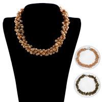Пресноводные жемчуги Ожерелье, с Латунь, В форме кнопки, разные стили для выбора & Женский, Продан через Приблизительно 16.5 дюймовый Strand
