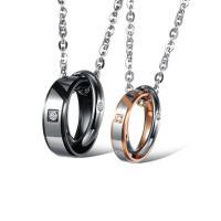 Ожерелье-пара, нержавеющая сталь, Другое покрытие, Мужская & Овальный цепь & разные стили для выбора & со стразами, Продан через Приблизительно 19.5 дюймовый Strand