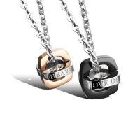 Ожерелье-пара, нержавеющая сталь, Другое покрытие, Мужская & Овальный цепь & разные стили для выбора & с письмо узором & с кубическим цирконием, продается Strand