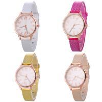 Искусственная кожа браслет для часов, с Стеклянный & цинковый сплав, Часы, плакированный цветом розового золота, Мужская & регулируемый, Много цветов для выбора, не содержит никель, свинец, 33x7mm, длина:Приблизительно 9.2 дюймовый, продается PC