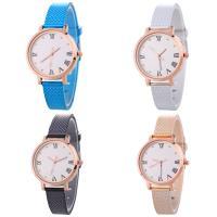 Искусственная кожа браслет для часов, с Стеклянный & цинковый сплав, Часы, плакированный цветом розового золота, Мужская & регулируемый & со стразами, Много цветов для выбора, не содержит никель, свинец, 33x7mm, длина:Приблизительно 9.2 дюймовый, продается PC
