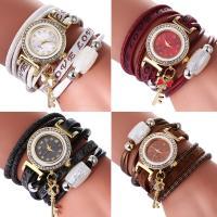 Искусственная кожа браслет для часов, с Стеклянный & канифоль & цинковый сплав, плакирован золотом, Мужская & регулируемый & со стразами & двунитевая, Много цветов для выбора, не содержит никель, свинец, 28x7mm, Продан через Приблизительно 15.7 дюймовый Strand