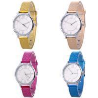 Искусственная кожа браслет для часов, с Стеклянный & цинковый сплав, Часы, Платиновое покрытие платиновым цвет, Мужская & регулируемый, Много цветов для выбора, не содержит никель, свинец, 35x7mm, длина:Приблизительно 9.2 дюймовый, продается PC