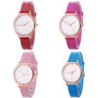 Искусственная кожа браслет для часов, с Стеклянный & цинковый сплав, Часы, плакированный цветом розового золота, Мужская & регулируемый, Много цветов для выбора, не содержит никель, свинец, 35x7mm, длина:Приблизительно 9.2 дюймовый, продается PC