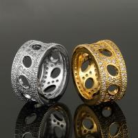 Кольца из латуни, Латунь, Другое покрытие, Мужская & со стразами, Много цветов для выбора, 11mm, продается PC