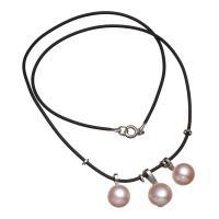 Природное пресноводное жемчужное ожерелье, Пресноводные жемчуги, с кожаный шнур, латунь Замочек-колечко, натуральный, Женский, розовый, 9-10mm, Продан через Приблизительно 17 дюймовый Strand