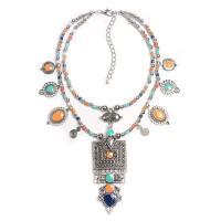 Ожерелья из полимерной смолы, цинковый сплав, с канифоль, плакированный цветом под старое серебро, Женский & эмаль & двунитевая, не содержит свинец и кадмий, 140mm, Продан через Приблизительно 14 дюймовый Strand