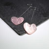 Серебро 925 пробы Сережка, с Розовая ракушка, Сердце, покрытый платиной, гипо аллергических & Женский, 25x23mm, 45mm, продается Пара
