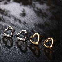 Серьги из серебра, Серебро 925 пробы, нержавеющая сталь гвоздик, Сердце, Другое покрытие, Женский, Много цветов для выбора, 6mm, продается Пара