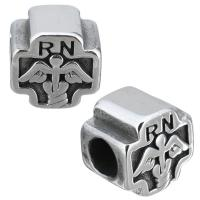 Европейские стильные бусины из нержавеющей стали, нержавеющая сталь, Kресты, без Тролль & чернеют, 11x10.50x8.50mm, отверстие:Приблизительно 5mm, 10ПК/Лот, продается Лот