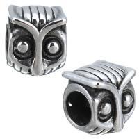 Европейские стильные бусины из нержавеющей стали, нержавеющая сталь, Сова, без Тролль & чернеют, 9x11x9mm, отверстие:Приблизительно 5mm, 10ПК/Лот, продается Лот