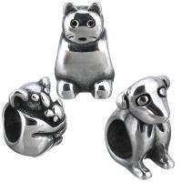 Европейские стильные бусины из нержавеющей стали, нержавеющая сталь, разные стили для выбора & без Тролль & чернеют, отверстие:Приблизительно 5mm, 10ПК/Лот, продается Лот