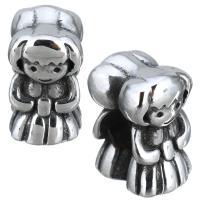 Европейские стильные бусины из нержавеющей стали, нержавеющая сталь, Девочка, без Тролль & чернеют, 8x13x11mm, отверстие:Приблизительно 5mm, 10ПК/Лот, продается Лот