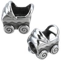 Европейские стильные бусины из нержавеющей стали, нержавеющая сталь, Детские коляски, без Тролль & чернеют, 14x15x9mm, отверстие:Приблизительно 5mm, 10ПК/Лот, продается Лот