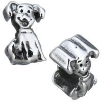 Европейские стильные бусины из нержавеющей стали, нержавеющая сталь, Собака, без Тролль & чернеют, 8x12x7.50mm, отверстие:Приблизительно 5mm, 10ПК/Лот, продается Лот