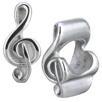 Европейские стильные бусины из нержавеющей стали, нержавеющая сталь, Музыкальные ноты, без Тролль, оригинальный цвет, 6x14x8mm, отверстие:Приблизительно 5mm, 10ПК/Лот, продается Лот