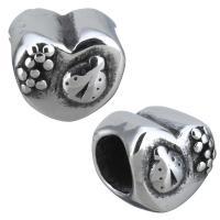 Европейские стильные бусины из нержавеющей стали, нержавеющая сталь, Сердце, без Тролль & чернеют, 9.50x9x9mm, отверстие:Приблизительно 5mm, 10ПК/Лот, продается Лот