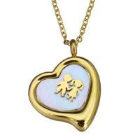 нержавеющая сталь Ожерелье, с Белая ракушка, с 2.5Inch наполнитель цепи, Сердце, плакирован золотом, Овальный цепь & Женский, 24x31mm, 2mm, Продан через Приблизительно 17 дюймовый Strand