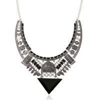 Ожерелья из полимерной смолы, цинковый сплав, с канифоль, Покрытие под бронзу старую, Овальный цепь & Женский & граненый, 50mm, Продан через Приблизительно 17.7 дюймовый Strand